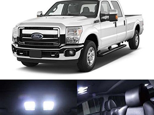 Partsam White Interior LED Light Package Kit for Ford Super Duty F-250 F-350 F-450 2005 & Up 8 Pieces