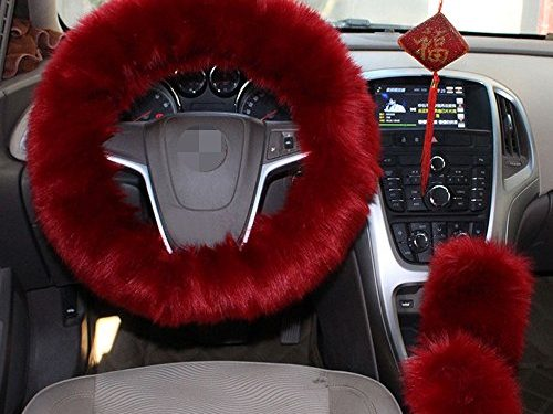 1 Set 3 Pcs Steering Wheel Cover Faux Wool Hand Brake Set Warm Winter Wine Red