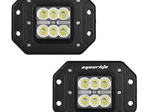 Eyourlife 2PCS 18W 1620LM CREE Flood Led Work Light Bar Flush Mount Light Auto Work Light Driving Fog Light Pods for off-Road SUV Pickup Boat 4×4 Jeep SUV