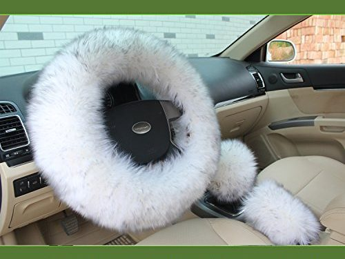 Valleycomfy Fashion Steering Wheel Covers for Women/Girls/Ladies Australia Pure Wool 15 Inch 1 Set 3 Pcs, White Grey