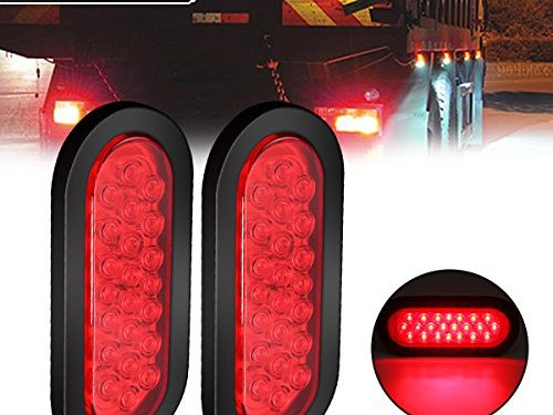 AMBOTHER 2pcs 6″ 22-LED Oval Red Stop/Turn Signal/Brake/Marker/Tail LED Light, Flush Mount for Truck Trailer Trail Bus 12V Red Pack of 2