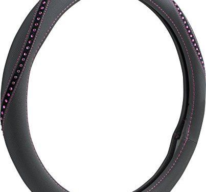 Custom Grip 38472P Black Pink Rope Bling Pink Stitch TPE Core Steering Wheel Cover