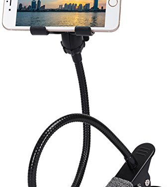METAL-ENHANCED Cell Phone Holder, ZTON Mobile Phone Stand, Lazy Bracket, Flexible Long Arms Clip Mount for iPhone, LG, etc.in Office Bedroom Desktop Black