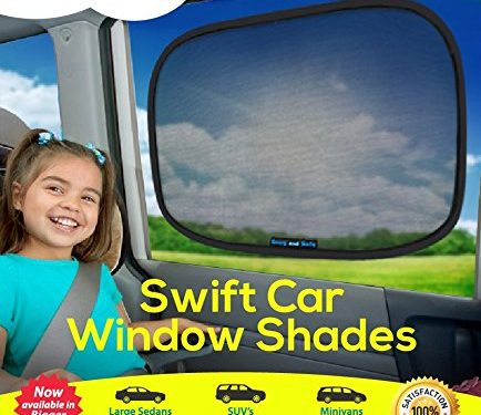 Snug and Safe Swift Car Window Shades with UV Heat Rays Glare, 14×21-Inch, 2-Pack