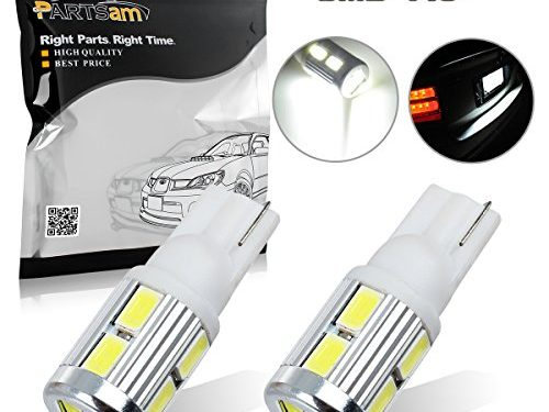 Partsam 2x 10-5730-SMD Samsung White 6000k Backup Reverse Light Lamps T10 158 579 912 T15 921 2825 Parking Light Ultra Bright Car Led