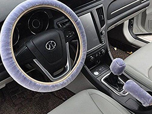 Pesp Non-slip Car Decoration Steering Wheel Handbrake Gear Shift Cover Plush New Blue