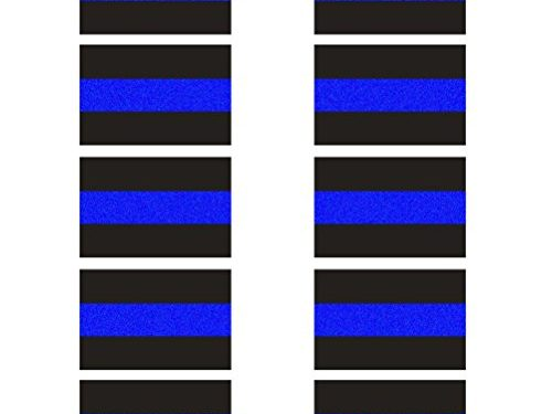 10 Pack Reflective License Plate Stickers 1.5″ x 1″ Police Thin Blue Line Vinyl Decal Stickers Honoring Police Law Enforcement Vinyl Window Laptop Tape