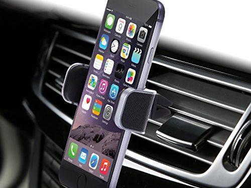 Genuine Leather Car Mount, Luxury Premium Air Vent Cell Phone Car Holder for iPhone 7 Plus 6 6s Plus Samsung Galaxy S7 S6 Edge Note 5, Universal Grip – Retail Pack Black – Dash Crab MONO