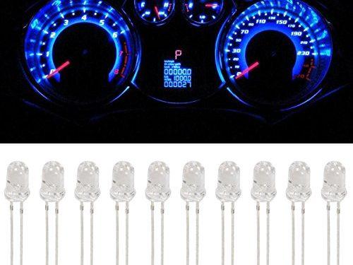 Partsam 10Pcs Blue 4.7mm Mini LED Bulbs Instrument Cluster Panel Backlight Gauge Lights 12V 95ma