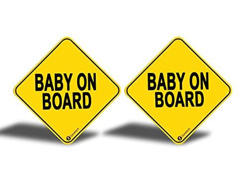 """2-Pack Premium Quality Convenient Reflective """"Baby On Board"""" Vehicle Safety Funny Sign Bumper Magnet – Zone Tech """"Baby On Board"""" Vehicle Bumper Magnet"""