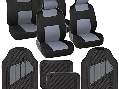 Black/Gray – Two-Tone PolyCloth Car Seat Covers w/ Motor Trend Dual-Accent Heavy Duty Rubber Floor Mats