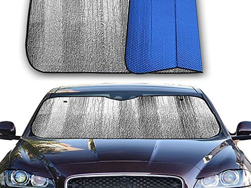 Big Hippo Front Car Sunshade Windshield-Jumbo/Standard Sun Shade Keeps Vehicle Cool-UV Ray Protector Sunshade-Easy to Use Sun Shade-Silver/Blue SidesSize: 55″X 27.5″