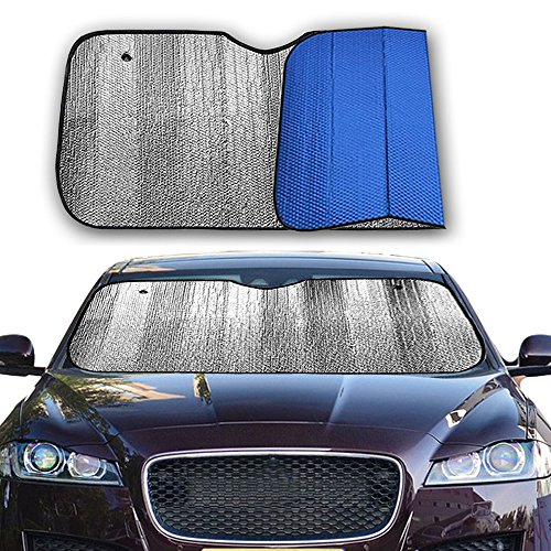 Big Hippo Front Car Sunshade Windshield Jumbo/Standard Sun Shade Keeps  Vehicle Cool UV Ray Protector Sunshade Easy To Use Sun Shade Silver/Blue  SidesSize: ...