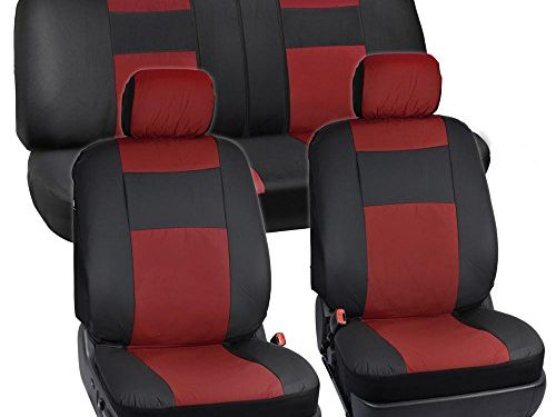 Affordable PU Vinyle Replacement Covers – BDK Black & Red Synthetic Leather Seat Covers for Car SUV Van