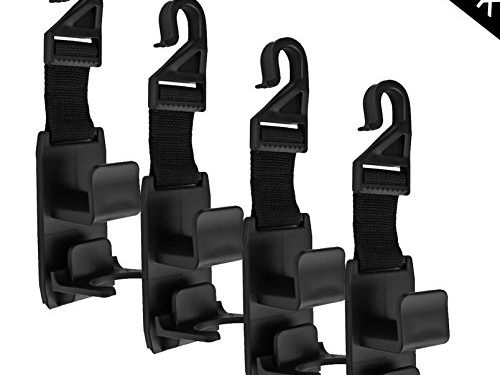 Carmoni Car SUV Seat Back Headrest Hanger Hooks,Strong And Durable Backseat Headrest Hanger For Handbags, Purses, Coats and Grocery Bags,Universal Vehicle Car Seat Back Headrest Bottle Holder 4 Pack