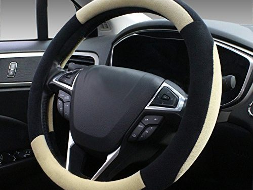 SEG Direct Beige Plush Winter Auto Car Steering Wheel Cover Universal 15 inch