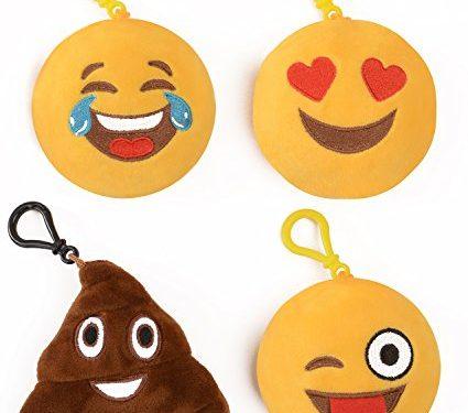 Emoji Universe: Talking Emoji Backpack Clips, Keychains; Plush Keychain Makes FUNNY SOUNDS! Choice of Emoji