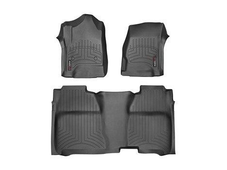 Full Set Black Front & Rear – 2015 GMC Sierra / Sierra Denali 1500 Crew Cab – 2014 – WeatherTech Custom Floor Mats Liners