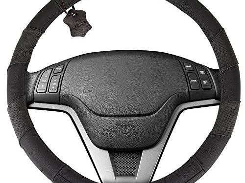Genuine Soft Black Leather Steering Wheel Cover: Universal 15 Inch Size, Anti-Slip, Elegant, Excellent Grip, and Easy Install Wheel Wrap by Hydro Gizmos