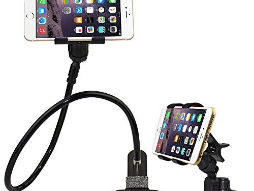 BESTEK Universal Gooseneck Cell Phone Holder Clip Holder + Car Suction Clamp Mount Applied to Home, Bed, Office,Car, Easy to Adjust Gooseneck