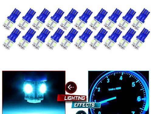 CCIYU 20x Ice Blue T10 W5W 194 5050SMD Side Wedge LED Light Lamps for Dashboard Instrument Panel Light Fit 2003-2005 Ford E150 Club Wagon E350 Club Wagon