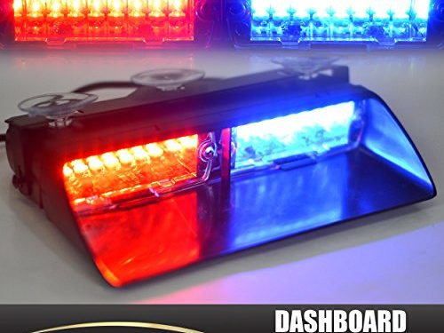Xprite Red & Blue 16 LED High Intensity LED Law Enforcement Emergency Hazard Warning Strobe Lights For Interior Roof / Dash / Windshield With Suction Cups