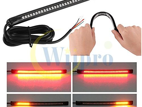 Wiipro Universal led Harley Davidson Light Strip Tail Brake Stop Turn Signal 32LED 8″ Flexible led light for motorcycle