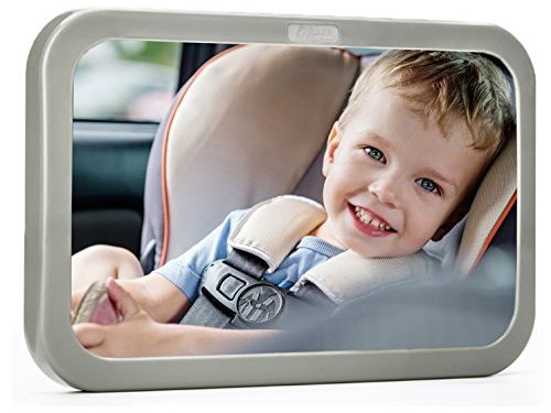 Baby & Mom Rear View Baby Mirror – 2017 Model Back Seat Mirror – Easily Watch your Precious Child In-Car – Adjustable, Convex and Shatterproof Glass