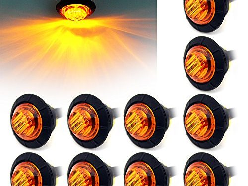 """ Purishion 10x 3/4″"" Round LED Clearence Light Front Rear Side Marker Indicators Light for Truck Car Bus Trailer Van Caravan Boat, Taillight Brake Stop Lamp 12V Amber"