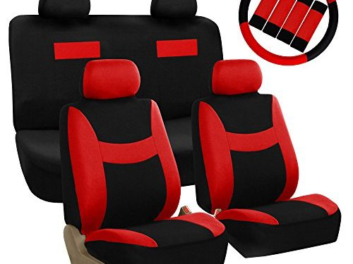 FH GROUP FH-FB038114 Stylish Cloth Full Set Car Seat Covers Combo-FH2033 Steering Wheel & Seat Belt Pads, Red / Black- Fit Most Car, Truck, Suv, or Van