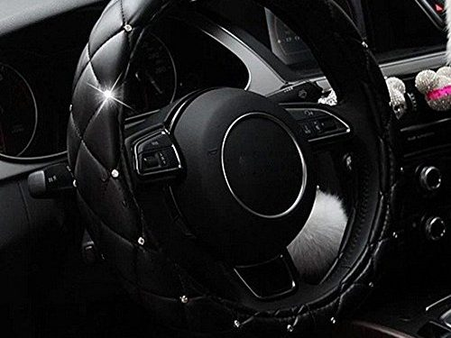 Sino Banyan Two Sides Diamond Steering Wheel Cover,PU Leather with Crown,15″,Black