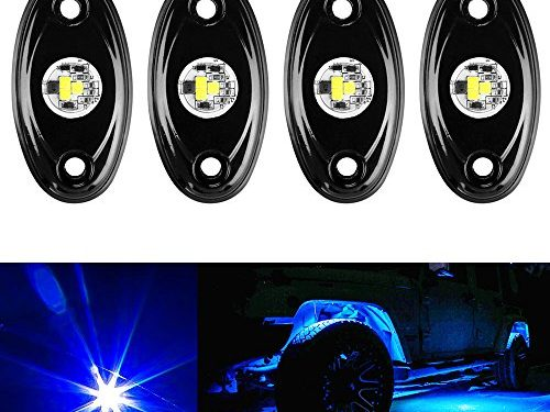 Amak 4pcs LED Rock Light JEEP ATV SUV Offroad Truck Boat Underbody Glow Trail Rig Lamp Waterproof -Blue
