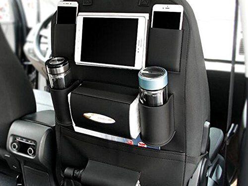Pu Leather Car Seat Back Organizer Holder Multi-Pocket Travel Storage Bag for Cars SUVs Trucks Vans Black