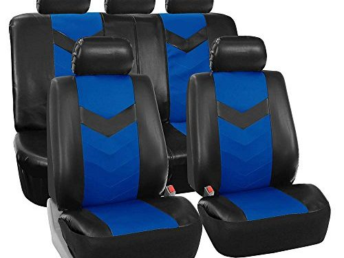 FH GROUP FH-PU021115 Synthetic Leather Full Set Auto Seat Covers, Blue Black Color – Fit Most Car, Truck, Suv, or Van