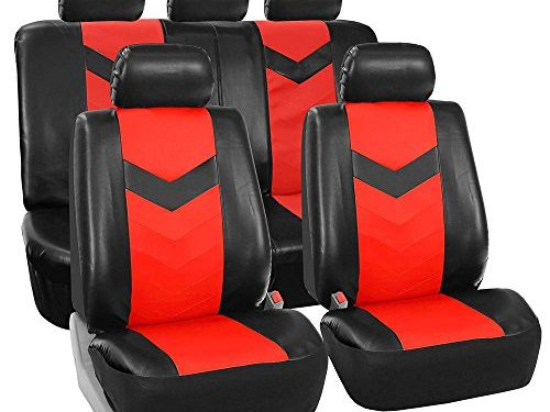 FH GROUP FH-PU021115 Synthetic Leather Full Set Auto Seat Covers, Red Black Color- Fit Most Car, Truck, Suv, or Van
