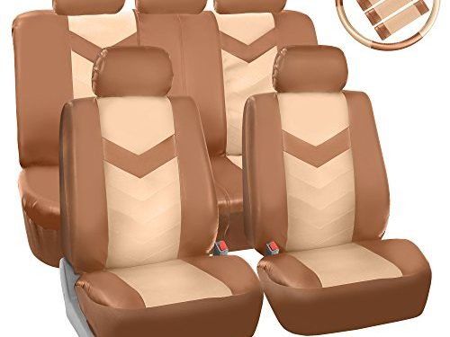Fit Most Car, Truck, Suv, or Van – FH GROUP FH-PU021115 Synthetic Leather Full Set Auto Seat Covers w. Steering Wheel Cover & Seat Belt Pads, Beige Tan Color