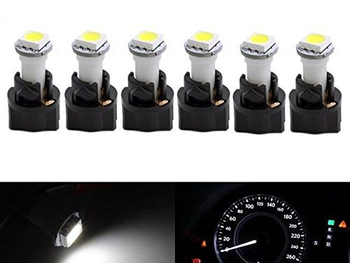 Partsam 6PCS T5 37 70 Instrument Panel LED Light Gauge Cluster Dashboard Indicator Lamp Bulb with Twist Sockets for GMC Savana 1500 2500 3500 Yukon XL 1500, White