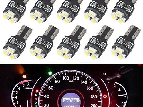 Partsam T5 Wedge 3-3020-SMD Gauge Cluster LED Light Instrument Panel Indicator Bulb, White, Pack of 10