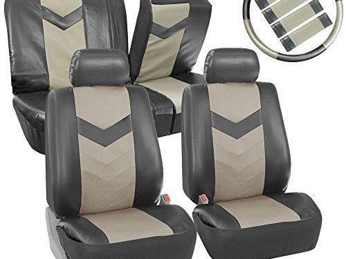 FH GROUP FH-PU021115 Synthetic Leather Full Set Auto Seat Covers w. Steering Wheel Cover & Seat Belt Pads, Light / Dark Gray Color- Fit Most Car, Truck, Suv, or Van
