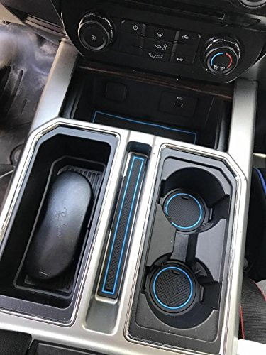 custom fit cup holder liners    ford  accessories  pc set blue trim bipflip