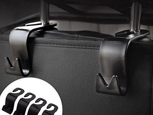 Car SUV Back Seat Headrest Hanger Storage Hooks -CIKIShield Purse Handbag Grocery Bag HolderBlack -Set of 4