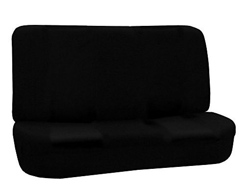 FH GROUP FH-FB050R010 Flat Cloth Universal Bench Seat Covers Black Color- Fit Most Car, Truck, Suv, or Van