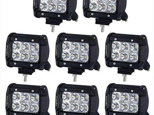 Lightfox 8Pcs 18W 4Inch CREE Flood LED Light Bar LED Pods Fog Light Waterproof Work Lights Off Road Lights 4WD Truck Car SUV ATV UTV Jeep Pickup Boat Driving Lamp, 2 Years Warranty