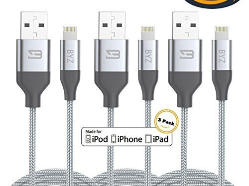 BYZ iPhone Charger Charging Cable 3 pack Lightening Cable – 6 ft iPhone Cable USB Sync & Charging Cord for iPhone 7 Plus 7 6S Plus 6 Plus SE 5S 5C 5, iPad 2 3 4 Mini, iPad Pro Air, iPod – Silver