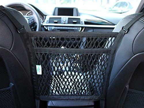 AMEIQ 2-Layer Car Mesh Organizer, Seat Back Net Bag, Barrier of Backseat Pets Children Kids, Cargo Tissue Purse Holder, Driver Storage Netting Pouch. 3 optional styles