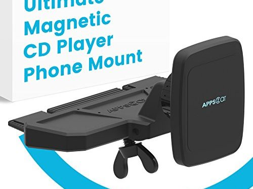 INTRO PRICE APPS2Car Ultimate Magnetic CD Player Phone Mount is Universally Compatible w/ Android + IOS Devices + All In-Car CD Players, Superior Gripping Power Thanks to Six Magnets.