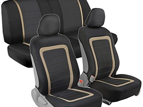 Advanced Performance Car Seat Covers – Instant Install Sideless Fronts + Full Interior Set for Auto Black / Beige