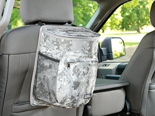 Auto Trash Bag & Car Cooler with Bottle Holders and Extra Storage Pocket Urban Digital Camouflage – Clean Ridez Car Garbage Can w/ Ez Flip Lid & Leakproof Removable Liner