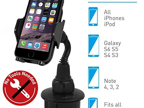 Macally Adjustable Automobile Cup Holder Phone Mount for iPhone 7 7 Plus 6s Plus 6s 5s 5c Samsung Galaxy S8 S7 Edge S6 S5 Note 5, iPod, Smartphones, MP3, GPS etc MCUPMP