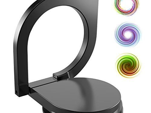 eBoot Phone Finger Grip Ring Stand with 360 Degree Rotation, No Loose Smartphones Metal Holder for Mobile Cell Phone Black
